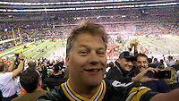 Self portrait at the conclusion of Super Bowl XLV as the Green Bay Packers defeated the Pittsburgh Steelers 31-25 at AT&T Stadium in Arlington, Texas in 2011.