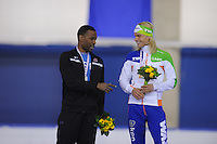 SCHAATSEN: CALGARY: Olympic Oval, 08-11-2013, Essent ISU World Cup, podium 1500m, Shani Davis (USA), Koen Verweij (NED), ©foto Martin de Jong