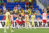 Harrison, NJ - Wednesday July 06, 2016: Shaun Wright-Phillips celebrates scoring during a friendly match between the New York Red Bulls and Club America at Red Bull Arena.
