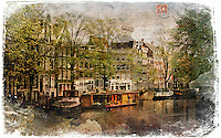 Amsterdam, The Netherlands - Forgotten Postcard digital art European Travel collage
