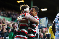 Brendon O'Connor of Leicester Tigers celebrates scoring a first half try with team-mate Telusa Veainu. European Rugby Champions Cup match, between Leicester Tigers and Racing 92 on October 23, 2016 at Welford Road in Leicester, England. Photo by: Patrick Khachfe / JMP