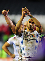 Olly Woodburn of Exeter Chiefs celebrates after the match. Aviva Premiership match, between Leicester Tigers and Exeter Chiefs on March 3, 2017 at Welford Road in Leicester, England. Photo by: Patrick Khachfe / JMP