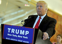 NEW YORK, NY - MAY 31: Republican presidential candidate Donald Trump holds press conference at Trump Tower where he addressed issues about donation money pledged to veterans groups following a missed debate before the Iowa caucuses on May 31, 2016 in New York City. Credit: Dennis Van Tine/MediaPunch