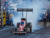 Jul 23, 2016; Morrison, CO, USA; NHRA top fuel driver Chris Karamesines during qualifying for the Mile High Nationals at Bandimere Speedway. Mandatory Credit: Mark J. Rebilas-USA TODAY Sports