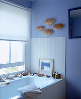 White-painted tongue-and-groove, a white roller blind and blue walls result in a fresh and bright feel to this bathroom