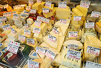 Cheese on sale in the Guildhall market, Bath, UK, October 19, 2007. The city of Bath is famed for it's hot springs (the only in the UK) and it's Georgian architecture. The city is a UNESCO World Heritage Site.