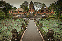 A walkway between lotus ponds leads visitors to a temple gate in the town of Ubud