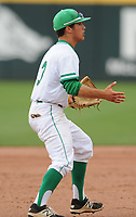 NWA Democrat-Gazette/ANDY SHUPE<br /> Greenland shortstop Chandler Alaniz reacts to an errant throw to first against Harding Academy Friday, May 19, 2017, during the Class 3A state championship game at Baum Stadium in Fayetteville. Alaniz was charged an error on the play, one of six committed by the Pirates. Visit nwadg.com/photos to see more photographs from the game.