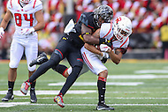 College Park, MD - November 26, 2016: Rutgers Scarlet Knights wide receiver Jawuan Harris (3) gets tackled during game between Rutgers and Maryland at  Capital One Field at Maryland Stadium in College Park, MD.  (Photo by Elliott Brown/Media Images International)