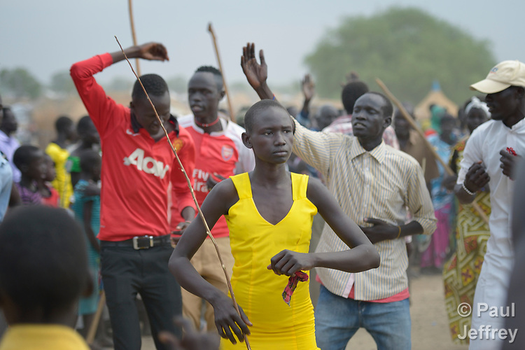 In preparation for a wedding, Dinka villagers dance on April 14, 2017, in Poktap, a town in South Sudan's Jonglei State where conflict, drought and inflation have caused severe food insecurity. <br /> <br /> The Lutheran World Federation, a member of the ACT Alliance, is helping families in the area tackle food problems, as well as providing support for housing and education.