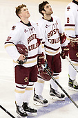 Christopher Brown (BC - 10), Austin Cangelosi (BC - 9) - The Boston College Eagles defeated the visiting Providence College Friars 3-1 on Friday, October 28, 2016, at Kelley Rink in Conte Forum in Chestnut Hill, Massachusetts.The Boston College Eagles defeated the visiting Providence College Friars 3-1 on Friday, October 28, 2016, at Kelley Rink in Conte Forum in Chestnut Hill, Massachusetts.