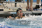 18 February 2016: Notre Dame's Catherine Mulquin competes in the Women's 50 Freestyle preliminary Heat 9. The 2016 Atlantic Coast Conference Swimming and Diving Championships were held at the Greensboro Aquatic Center in Greensboro, North Carolina from February 17-27, 2016.