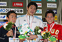 (L to R) .Fumiya Hidaka, .Shunsuke Kuzuhara, .Chiaki Ishibashi, .FEBRUARY 11, 2012 - Swimming : .The 53rd Japan Swimming Championships (25m) .Men's 200m Freestyle Victory Ceremony .at Tatsumi International Swimming Pool, Tokyo, Japan. .(Photo by YUTAKA/AFLO SPORT) [1040]