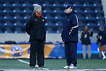 13 December 2013: New Mexico head coach Jeremy Fishbein (left) with Notre Dame head coach Bobby Clark (SCO) (right) before the game. The University of Notre Dame Fighting Irish played the University of New Mexico Lobos at PPL Park in Chester, Pennsylvania in a 2013 NCAA Division I Men's College Cup semifinal match. Notre Dame won the game 2-0.