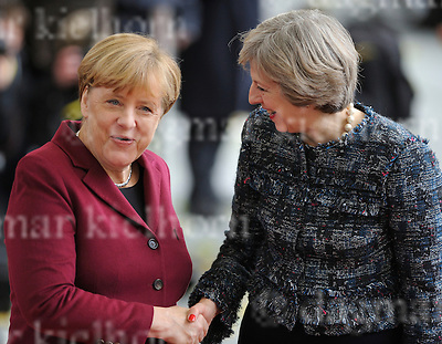 Nov.18-16 Chancellery,Berlin,Germany<br /> British MP, Theresa May is<br /> welcomed by the German Chancellor Angela Merkel