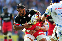 Billy Vunipola of Saracens takes on the Exeter Chiefs defence. Aviva Premiership Final, between Saracens and Exeter Chiefs on May 28, 2016 at Twickenham Stadium in London, England. Photo by: Patrick Khachfe / JMP