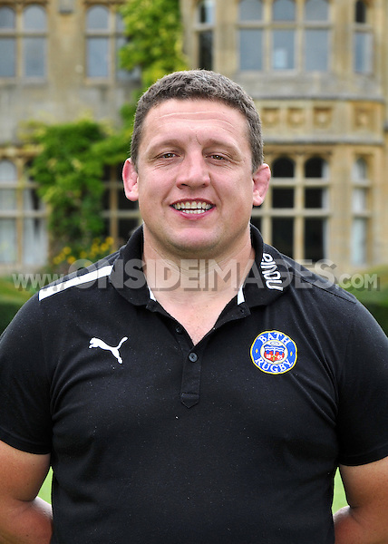 First team coach Toby Booth poses for a portrait at the squad Photocall. Bath Rugby Media Day on August 21, 2012 at Farleigh House in Bath, England. Photo by: Patrick Khachfe/Onside Images