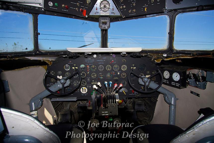Cockpit of Douglas DC 3 Spirit of the Skeena,Canadian Museum of Flight Langley B.C. CYNJ