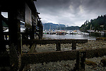 Wooden pier at low tide at Deep Cove Bay with clouds above the mountains over Mount Seymour provincial park. Deep Cove, Burrard Inlet, Vancouver, British Columbia, Canada.