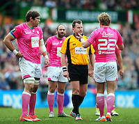 Referee Nigel Owens speaks to Jules Plisson of Stade Francais. European Rugby Champions Cup quarter final, between Leicester Tigers and Stade Francais on April 10, 2016 at Welford Road in Leicester, England. Photo by: Patrick Khachfe / JMP