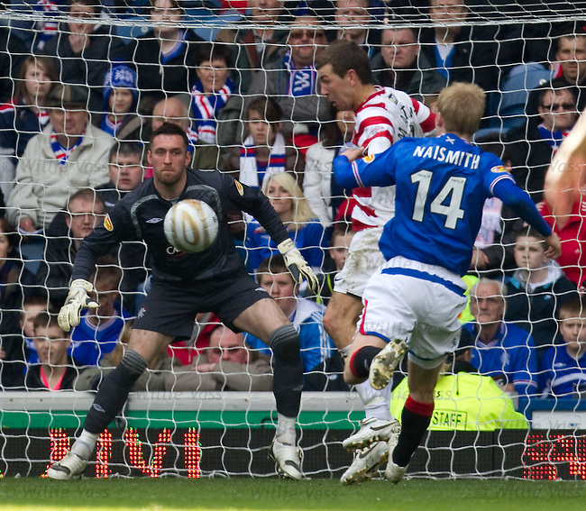 Hamilton's James McArthur steers the ball past Allan McGregor but his goal is ruled offside