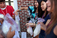 From left: George Jones, 15, Shagun Kathuria, 15, Kristin Li, 14, and Hannah Sheetz, 15, make ice-cream in their Chemistry in Society class during Center for Talented Youth summer program at Lafayette College in Easton, PA on July 06, 2012. Several students were part of the Rural Connections scholarship program being offered for the first time this year.