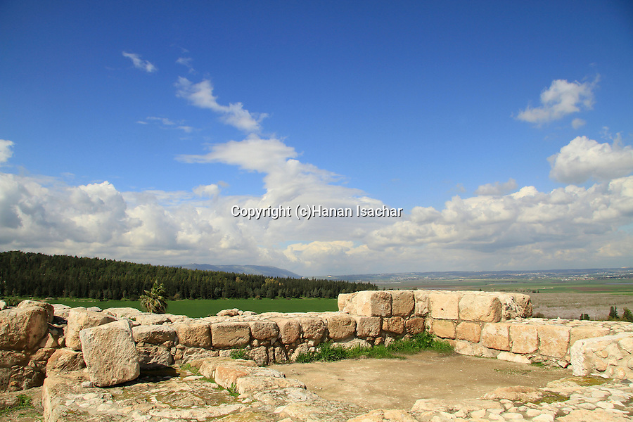 A view of Jezreel Valley from the biblical Tel Megiddo, Mount Carmel is in the background