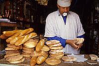 Ourika Valley, Morocco - Shop Vendor Selling Bread.