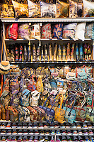Embroidered handbags cushions trainers shoes in The Grand Bazaar, Kapalicarsi, great market, Beyazi, Istanbul, Turkey