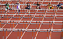 Boys run in the Class 2A 110 meter hurdles during the state track and field championships at the University of Texas' Myers Stadium in Austin on Friday, May 9, 2014.
