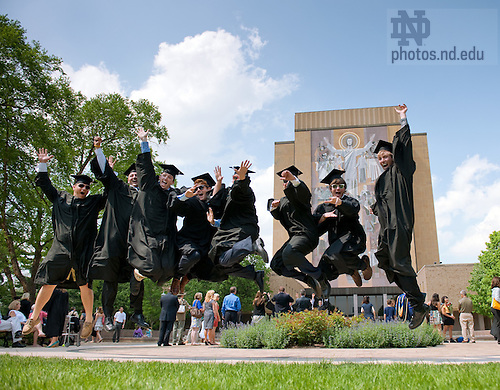 May 22, 2010; Graduates celebrate in front of Hesburgh Library...Photo by Matt Cashore/University of Notre Dame