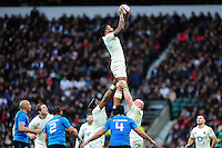 Courtney Lawes of England wins the ball at a lineout. RBS Six Nations match between England and Italy on February 26, 2017 at Twickenham Stadium in London, England. Photo by: Patrick Khachfe / Onside Images