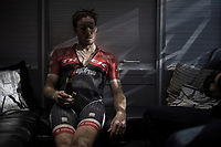 With the first part of the season done for him, Gregory Rast (SUI/Trek-Segafredo) enjoys a cold beer back in the teambus after the race<br /> <br /> 115th Paris-Roubaix 2017 (1.UWT)<br /> One Day Race: Compi&egrave;gne &rsaquo; Roubaix (257km)