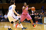 04 February 2016: Virginia's Breyana Mason (12) and Duke's Rebecca Greenwell (23). The Duke University Blue Devils hosted the University of Virginia Cavaliers at Cameron Indoor Stadium in Durham, North Carolina in a 2015-16 NCAA Division I Women's Basketball game. Both teams wore pink as part of the annual Play4Kay game in support of the Kay Yow Cancer Fund. Duke won the game 67-52.