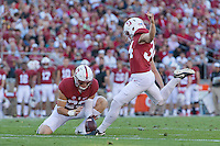 Stanford, CA - September 17, 2016: Conrad Ukropina during the Stanford vs USC football game at Stanford Stadium. The Cardinal defeated the Trojans 27-10.