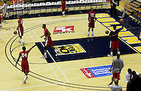 Detroit warms up on the court. The California Golden Bears defeated the Detroit Titans  95-61 during the regional round of the 2K Sports Classic benefiting coaches vs cancer at Haas Pavilion in Berkeley, California on November 11th, 2009.