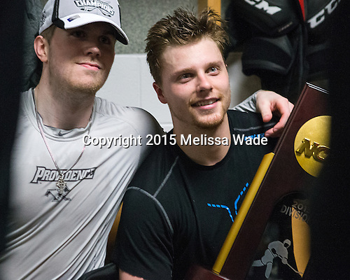 Mark Adams (PC - 4), Trevor Mingoia (PC - 9) - The Providence College Friars celebrated their national championship win after the Frozen Four final at TD Garden on Saturday, April 11, 2015, in Boston, Massachusetts.