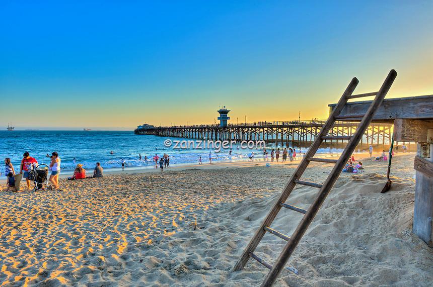 Seal Beach; CA; LA; Lifeguard Ladder; Pier, Sunset; LA; Beach; Pier, Fantastic Sunset, Hotels, Orange County, Ocean Waves, people Tourist