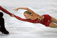 November 19, 2005; Paris, France; Figure skating stars TATIANA TOTMIANINA and MAXIM MARININ of Russia  skate to gold in pairs figure skating at Trophee Eric Bompard, ISU Paris Grand Prix competition.  Totmianina and Marinin are one of the favorites for medals in pairs at the Torino 2006 Olympics.<br />