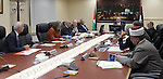 Palestinian Prime Minister Rami Hamdallah chairs a meeting with members of Palestinian cabinet, in the West Bank city of Ramallah June 30, 2015. Photo by Prime Minister Office