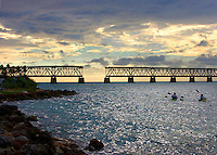 FREE_KeysStateParks..Caption:( 12/05/2009)Kayakers paddle towards the Old Bahia Honda Bridge at Bahia Honda State Park. The Florida Keys offer several options for adventure, camping and sightseeing at State Parks...Summary:Florida Keys State Parks...Photo by James Branaman