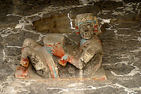 Polychrome Chacmool sculpture at the ruins of the Templo Mayor or Great Temple, Mexico City
