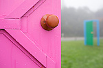 "Doors and doorknobs invite guests to engage with Chris Johanson's ""Door Sculpture to Talk About the Idea of Different Possibilities You May Have to Process Your Life."""