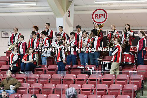 RPI pep band - The Harvard University Crimson defeated the visiting Rensselaer Polytechnic Institute Engineers 5-2 in game 1 of their ECAC quarterfinal series on Friday, March 11, 2016, at Bright-Landry Hockey Center in Boston, Massachusetts.