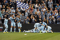 Kansas City players celebrate their late winning goal..Sporting Kansas City defeated D.C Utd 1-0 at Sporting Park, Kansas City, Kansas.