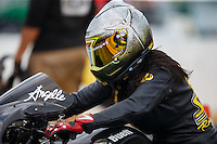 Sep 25, 2016; Madison, IL, USA; NHRA pro stock motorcycle rider Angelle Sampey during the Midwest Nationals at Gateway Motorsports Park. Mandatory Credit: Mark J. Rebilas-USA TODAY Sports