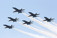 The US Navy and Marine Corps Blue Angels flight demonstration squadron flies over prior to the 2015 US Naval Academy Graduation and Commissioning Ceremony at Navy-Marine Corps Memorial Stadium on May 22, 2015 in Annapolis, MD.