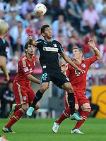 FUSSBALL   1. BUNDESLIGA  SAISON 2012/2013   7. Spieltag FC Bayern Muenchen - TSG Hoffenheim    06.10.2012 Javi , Javier Martinez (li, FC Bayern Muenchen) gegen Roberto Firmino (Mitte, TSG 1899 Hoffenheim) gegen Bastian Schweinsteiger (FC Bayern Muenchen)