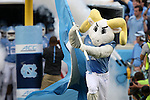12 September 2015: Rameses, the UNC mascot, leads the team onto the field. The University of North Carolina Tar Heels hosted the North Carolina A&T State University Aggies at Kenan Memorial Stadium in Chapel Hill, North Carolina in a 2015 NCAA Division I College Football game.