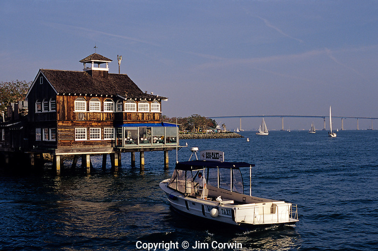 seaport village restaurant with water taxi along san diego